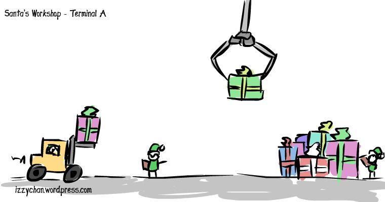 santa's workshop terminal a presents forklift little elves
